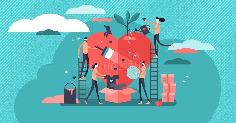 Να προσφερθεί εθελοντικά τη διανυσματική απεικόνιση Φιλανθρωπία βοήθειας ομάδας και διανομή της ελπίδας απεικόνιση αποθεμάτων