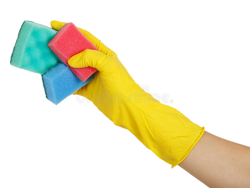 Να πλύνει σφουγγίζει επάνω στο φορημένο γάντια χέρι στοκ εικόνες