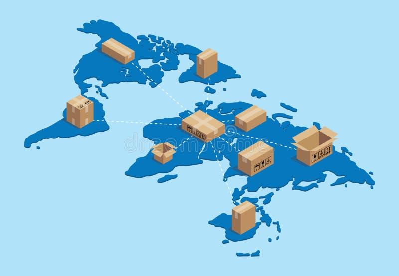 Να στείλει παγκοσμίως διεθνής με τη δικτύωση χαρτονιού πάνω από τον παγκόσμιο χάρτη isometric ελεύθερη απεικόνιση δικαιώματος
