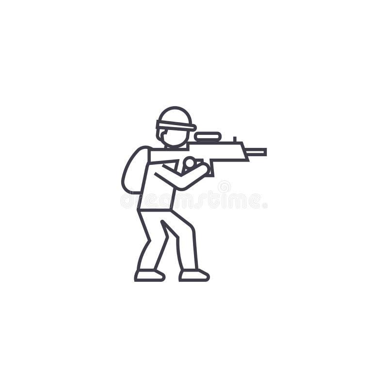 Να στοχεύσει το διανυσματικό εικονίδιο γραμμών στρατιωτών, σημάδι, απεικόνιση στο υπόβαθρο, editable κτυπήματα απεικόνιση αποθεμάτων