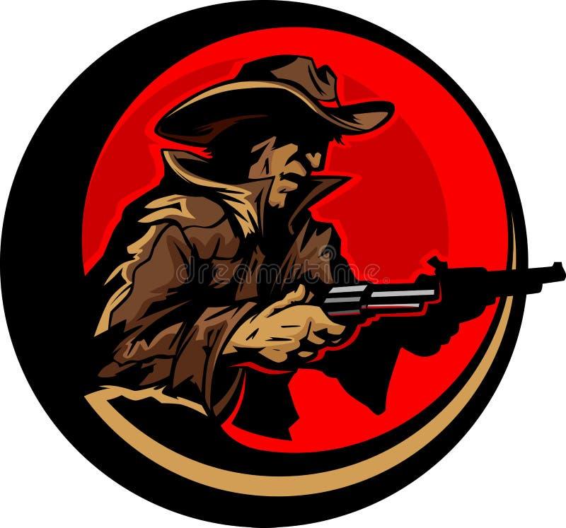 να στοχεύσει το σχεδιάγραμμα μασκότ απεικόνισης πυροβόλων όπλων κάουμποϋ ελεύθερη απεικόνιση δικαιώματος
