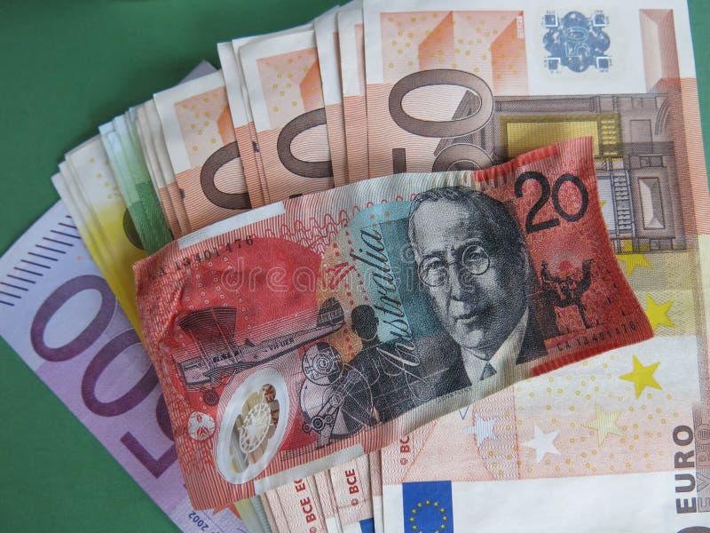 Να συρρικνωθεί το αυστραλιανά δολάριο και τα ευρώ στοκ φωτογραφία με δικαίωμα ελεύθερης χρήσης