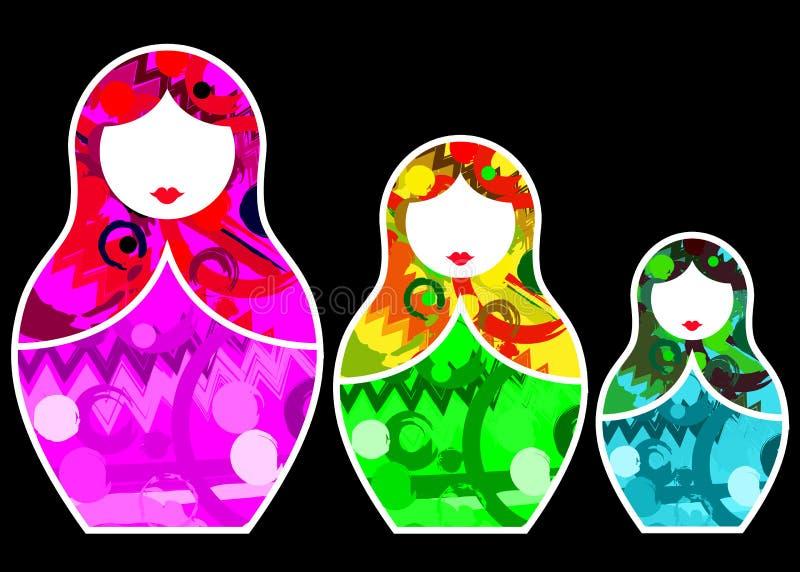 Να τοποθετηθεί εικονιδίων αυτοκόλλητων ετικεττών Matryoshka καθορισμένη ρωσική κούκλα με την αφηρημένη ζωηρόχρωμη διακόσμηση, δια ελεύθερη απεικόνιση δικαιώματος