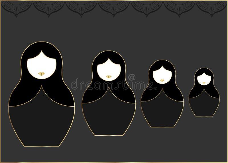 Να τοποθετηθεί εικονιδίων Matryoshka καθορισμένη ρωσική κούκλα με τη χρυσή διακόσμηση πολυτέλειας, τη διανυσματική απεικόνιση, το απεικόνιση αποθεμάτων