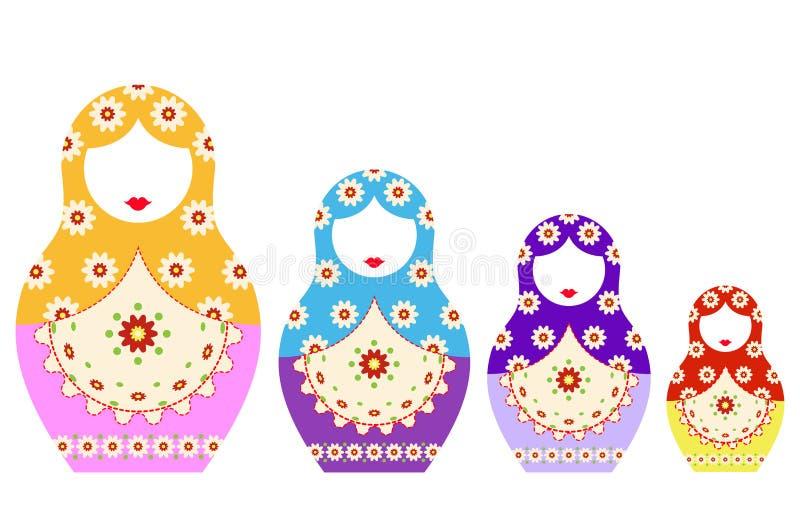 Να τοποθετηθεί εικονιδίων Matryoshka καθορισμένη ρωσική κούκλα με τη διακόσμηση, τη διανυσματική απεικόνιση, το απομονωμένο ή άσπ ελεύθερη απεικόνιση δικαιώματος