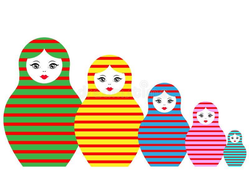 Να τοποθετηθεί εικονιδίων Matryoshka καθορισμένη ρωσική κούκλα με τη χρωματισμένη ριγωτή διακόσμηση, διανυσματική απεικόνιση απεικόνιση αποθεμάτων