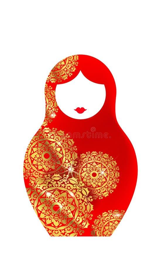 Να τοποθετηθεί πολυτέλειας εικονιδίων Matryoshka ρωσική κούκλα με τη χρυσή διακόσμηση mandala, διανυσματική απεικόνιση, που απομο απεικόνιση αποθεμάτων