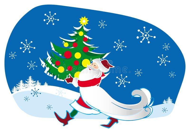 να φέρει το δέντρο santa Χριστουγέννων διανυσματική απεικόνιση