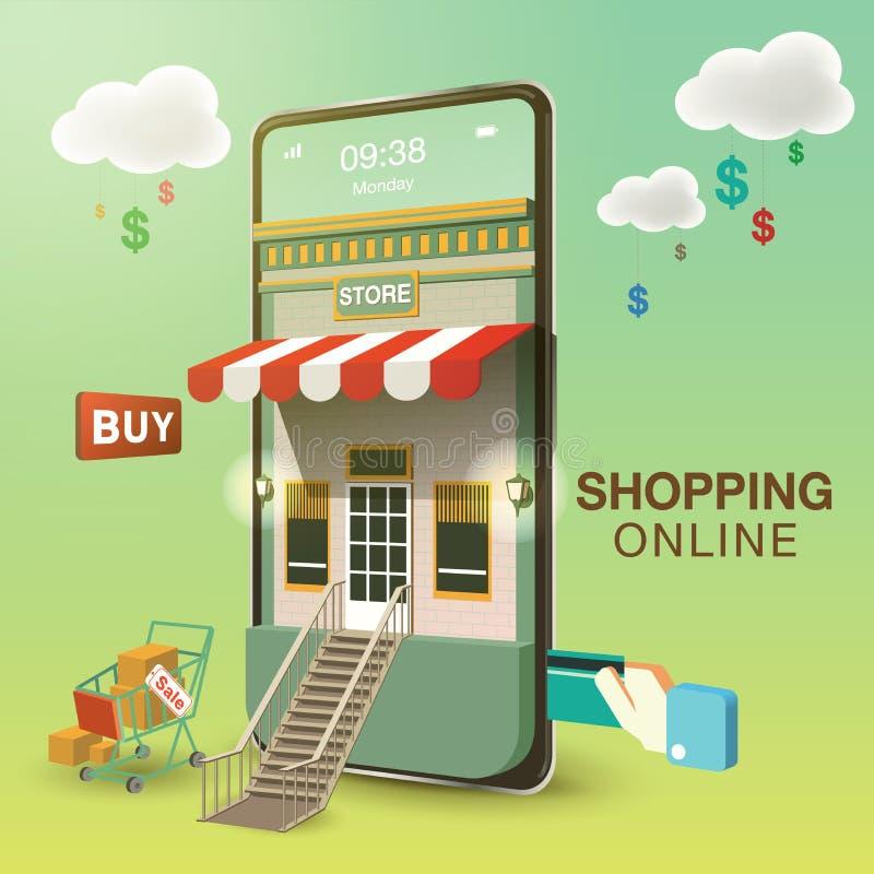Να ψωνίσει on-line στο κινητό τηλέφωνο διανυσματική απεικόνιση