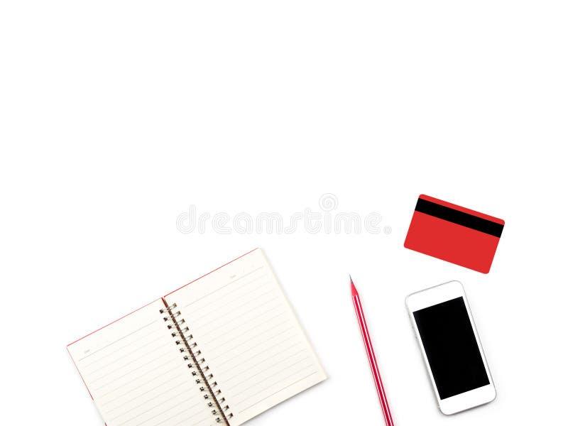 Να ψωνίσει on-line στο σύγχρονο άσπρο γραφείο γραφείων και πινάκων με το credi στοκ εικόνες