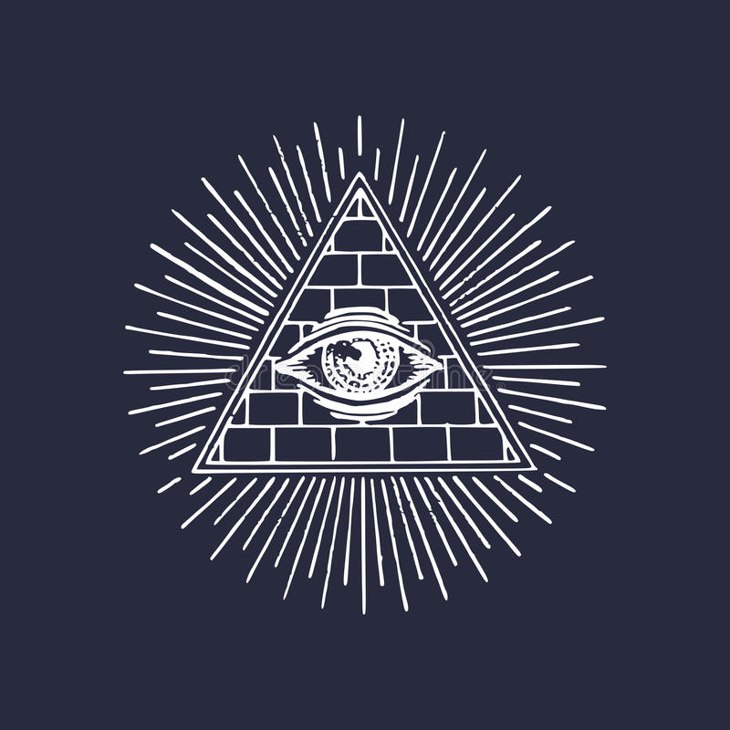 Να όλος-δει πυραμίδων Freemasonry μάτι Χαράσσοντας μασονικό λογότυπο Διανυσματικό μάτι της απεικόνισης πρόνοιας Παντογνωσία συμβό διανυσματική απεικόνιση