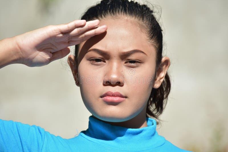 Νεανικός θηλυκός χαιρετισμός Filipina στοκ εικόνα