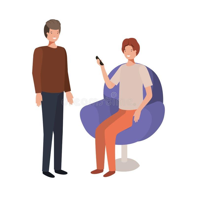 Νεαροί άνδρες που κάθονται στην καρέκλα με το smartphone απεικόνιση αποθεμάτων