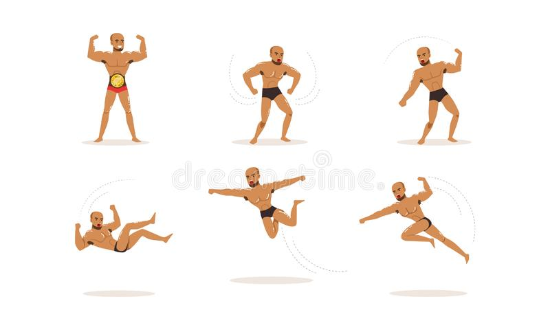 Νεαρός άνδρας γυμνός με μούσι που εξασκεί μικτές πολεμικές τέχνες απεικόνιση αποθεμάτων
