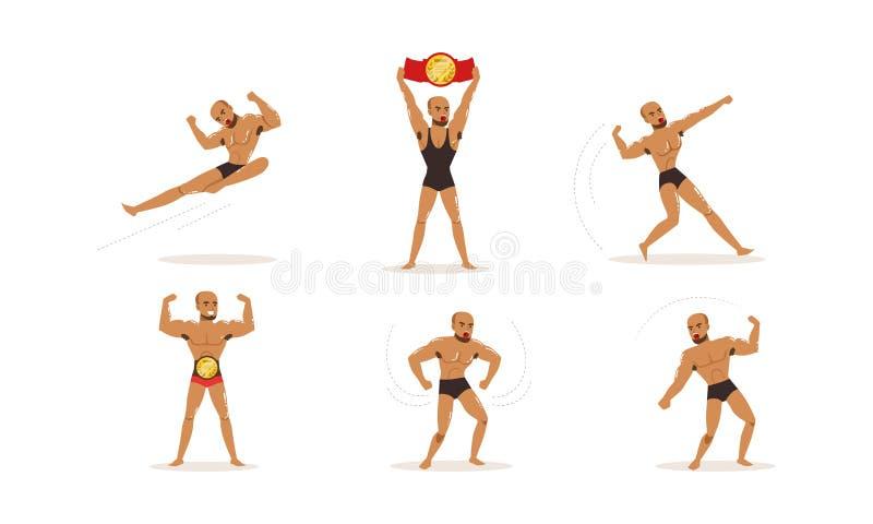 Νεαρός άνδρας γυμνός με μούσι που εξασκεί μικτές πολεμικές τέχνες διανυσματική απεικόνιση