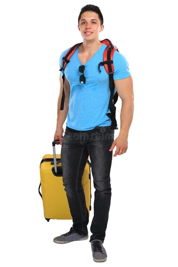 Νεαρός άνδρας διακοπών διακοπών με το smilin ταξιδιού ταξιδιού αποσκευών στοκ φωτογραφίες με δικαίωμα ελεύθερης χρήσης