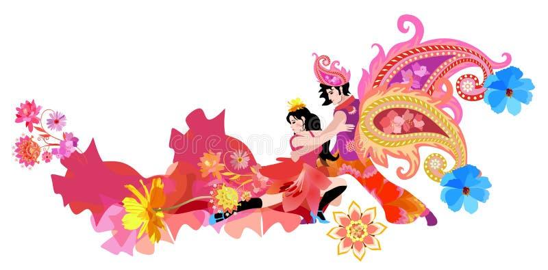 Νεαρός άνδρας με ανατολική στολή με φτερά σε σχήμα παστέλ και κορίτσι με κόκκινο φόρεμα, διακοσμημένος από λουλούδια, χορευτικό τ απεικόνιση αποθεμάτων