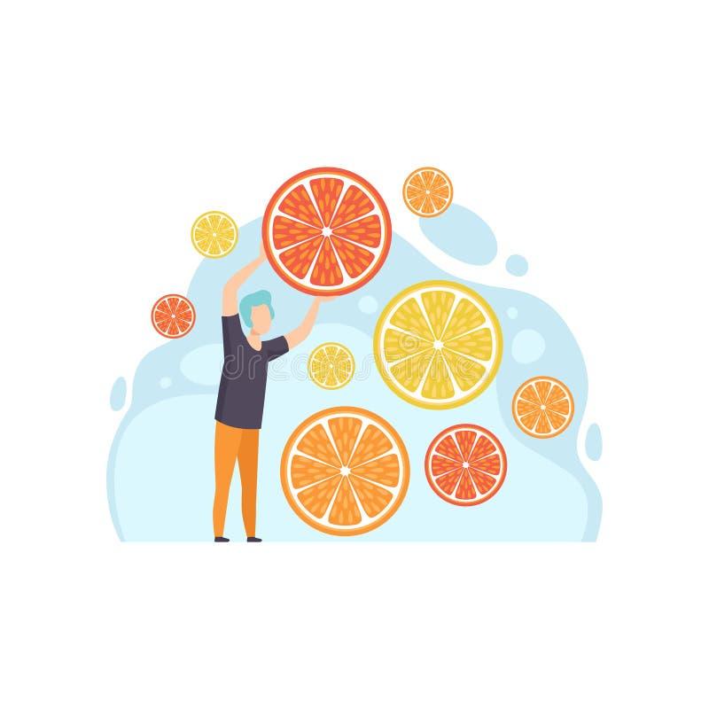 Νεαρός άνδρας με τις φέτες του λεμονιού, του γκρέιπφρουτ και της πορτοκαλιάς διανυσματικής απεικόνισης σε ένα άσπρο υπόβαθρο ελεύθερη απεικόνιση δικαιώματος
