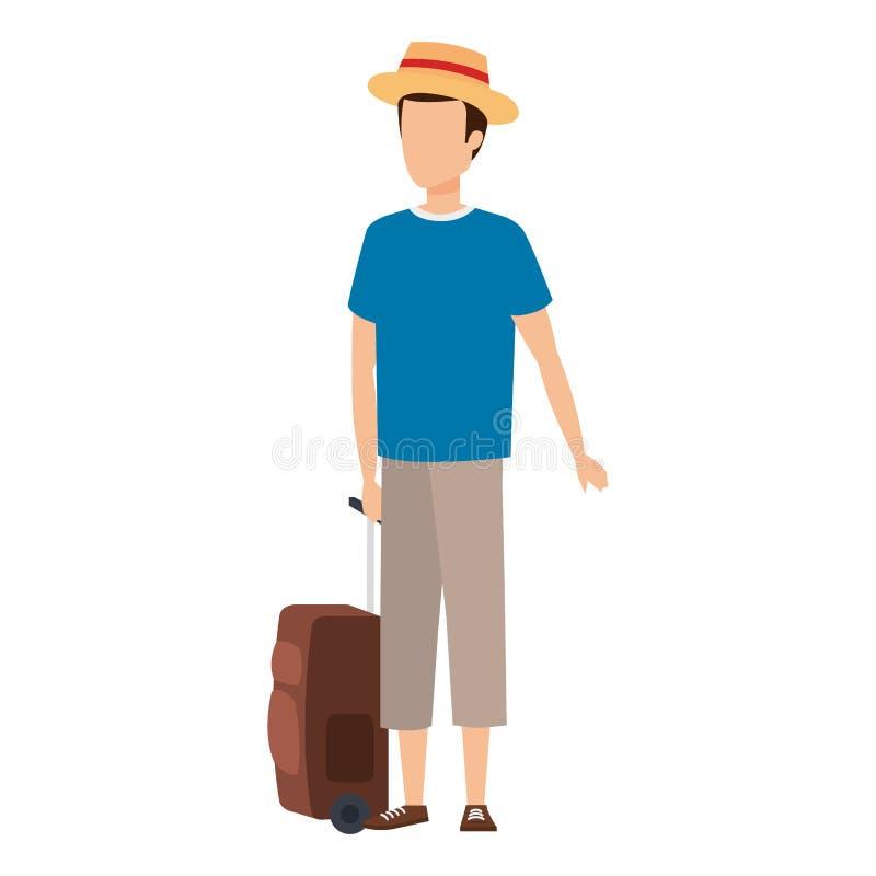 Νεαρός άνδρας με το ταξίδι βαλιτσών διανυσματική απεικόνιση