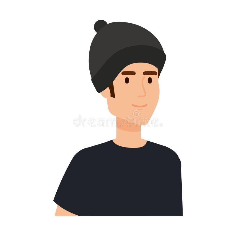 Νεαρός άνδρας με το χαρακτήρα ειδώλων μασκών σκι απεικόνιση αποθεμάτων