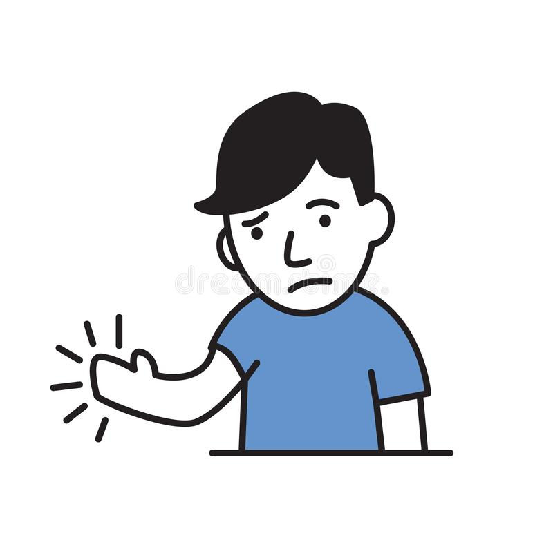Νεαρός άνδρας που αισθάνεται τον πόνο ή το μούδιασμα στο χέρι του Απλό εικονίδιο ύφους Επίπεδη διανυσματική απεικόνιση Απομονωμέν διανυσματική απεικόνιση