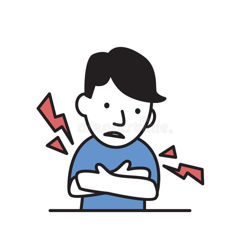Νεαρός άνδρας που αισθάνεται τους αρμοσφίκτες ή τον πόνο μυών Απλό εικονίδιο ύφους Επίπεδη διανυσματική απεικόνιση η ανασκόπηση α ελεύθερη απεικόνιση δικαιώματος