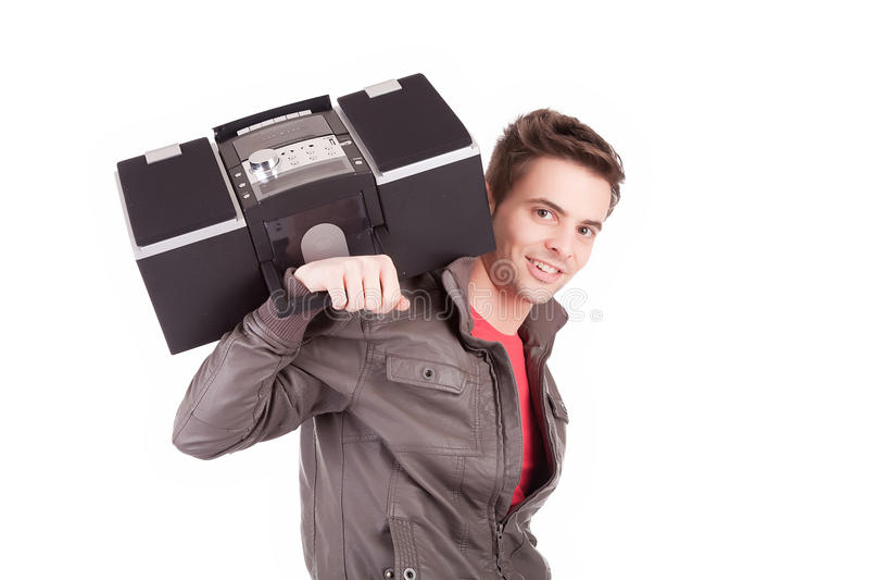 Νεαρός άνδρας που ακούει τη μουσική στοκ φωτογραφίες με δικαίωμα ελεύθερης χρήσης