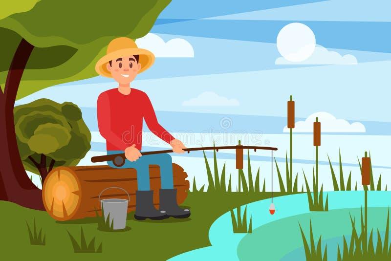 Νεαρός άνδρας που αλιεύει στη λίμνη Συνεδρίαση τύπων στο κούτσουρο με τη ράβδο στα χέρια το μήλο καλύπτει το δέντρο ήλιων φύσης λ ελεύθερη απεικόνιση δικαιώματος