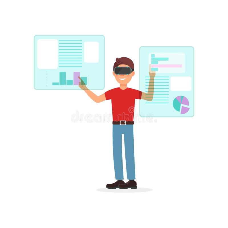 Νεαρός άνδρας που εργάζεται σε ένα εικονικό γραφείο με την κάσκα VR, την επιχείρηση και cyber τη διανυσματική απεικόνιση έννοιας  διανυσματική απεικόνιση