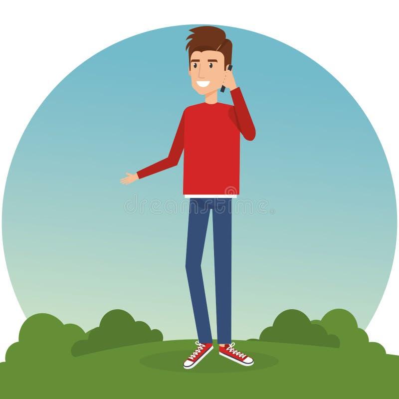 Νεαρός άνδρας που καλεί μέσα το πάρκο διανυσματική απεικόνιση