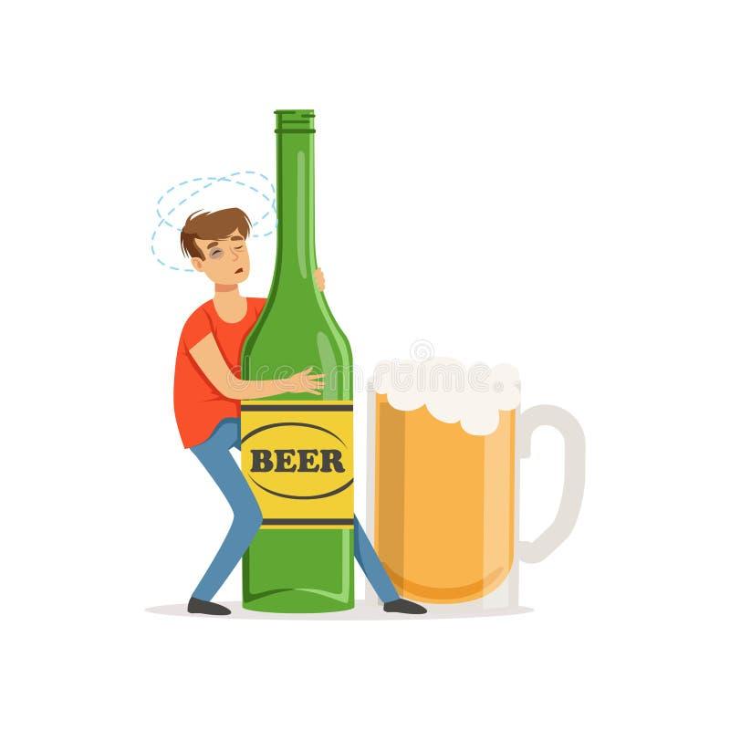 Νεαρός άνδρας που κρατά το μεγάλου μεγέθους μπουκάλι της μπύρας, εθισμός οινοπνεύματος ελεύθερη απεικόνιση δικαιώματος