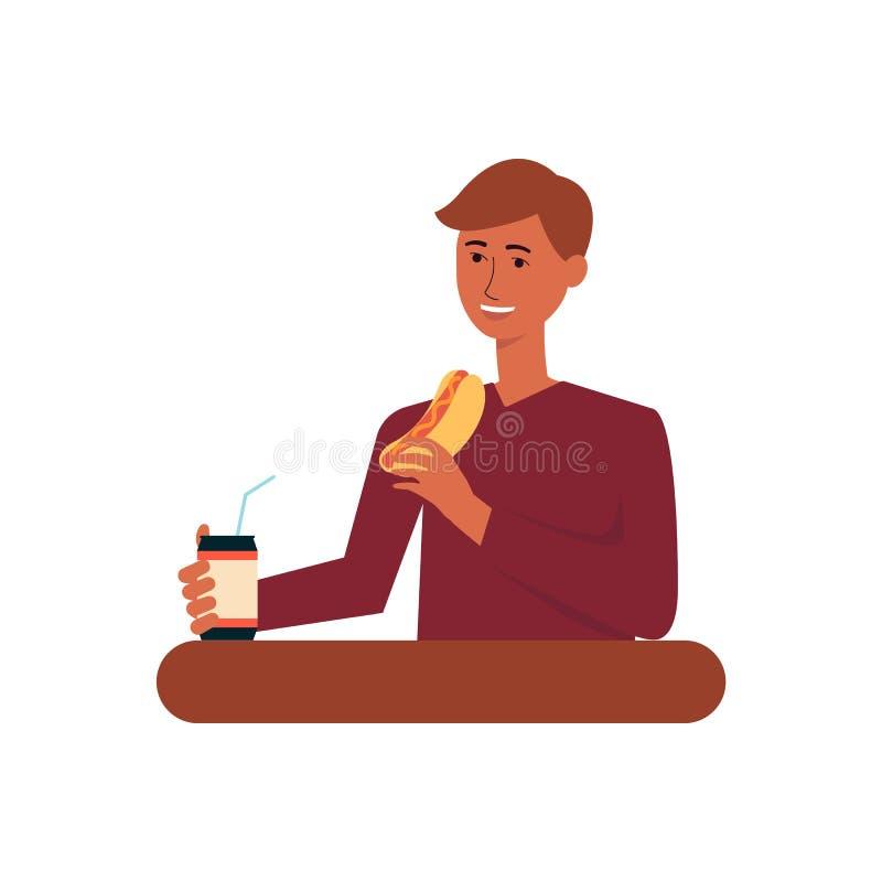 Νεαρός άνδρας που τρώει το γεύμα γρήγορου φαγητού, ενήλικη αρσενική σόδα κατανάλωσης χαρακτήρα κινουμένων σχεδίων και κατανάλωση  απεικόνιση αποθεμάτων