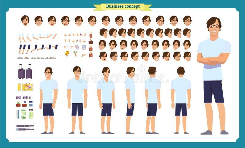 Νεαρός άνδρας στα περιστασιακά ενδύματα Σύνολο δημιουργιών χαρακτήρα Πλήρες μήκος, διαφορετικές απόψεις, συγκινήσεις, χειρονομίες διανυσματική απεικόνιση