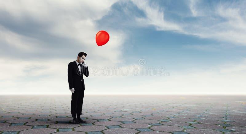 Νεαρός άνδρας mime Μικτά μέσα στοκ φωτογραφίες