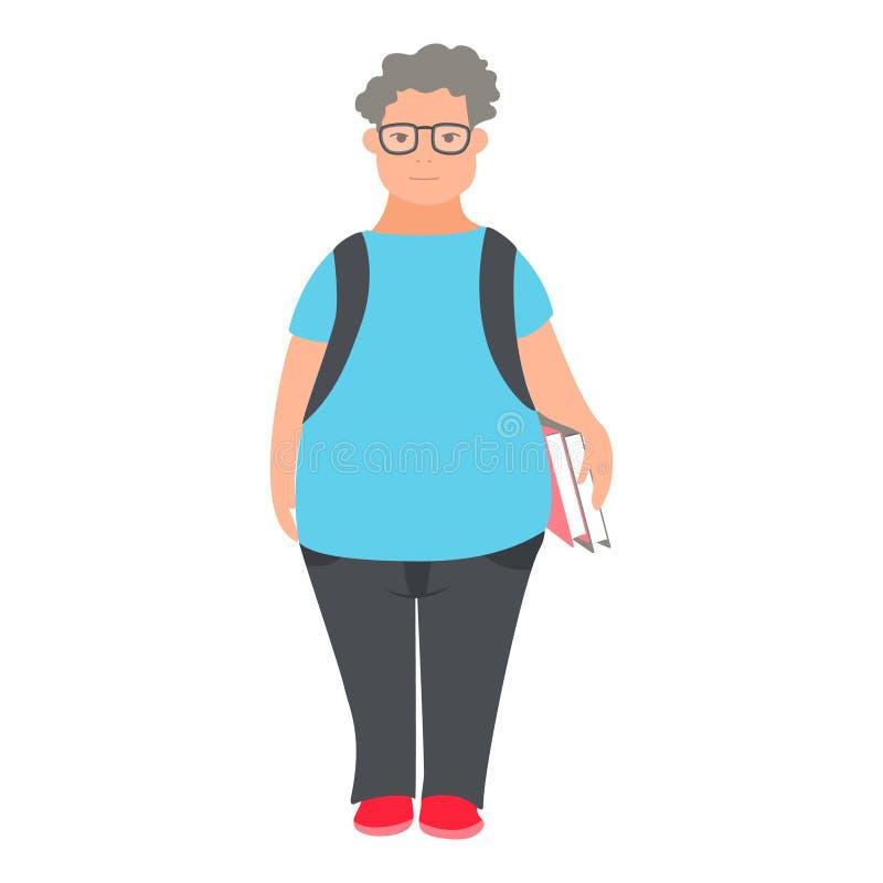 Νεαρός άνδρας nerd Ο χαρακτήρας σπουδαστών geek κρατά τα βιβλία Επίπεδη απεικόνιση του παχιού σγουρού χαρακτήρα κινουμένων σχεδίω ελεύθερη απεικόνιση δικαιώματος