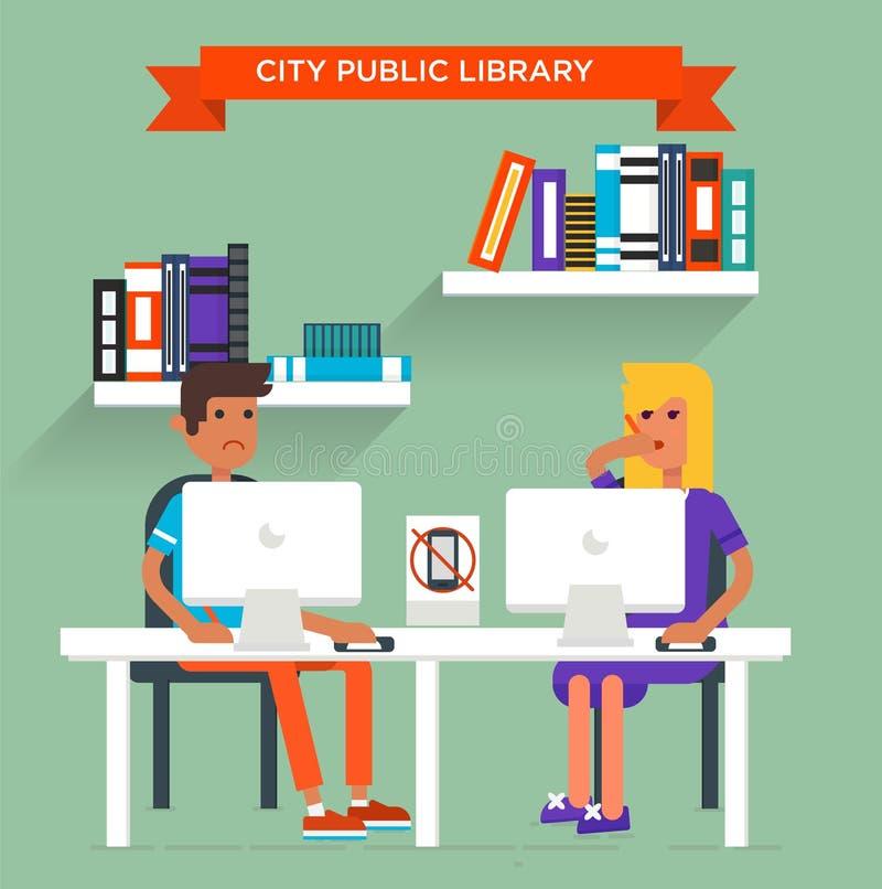 Νεαρός άνδρας και νέα διάταξη θέσεων γυναικών στη βιβλιοθήκη διανυσματική απεικόνιση