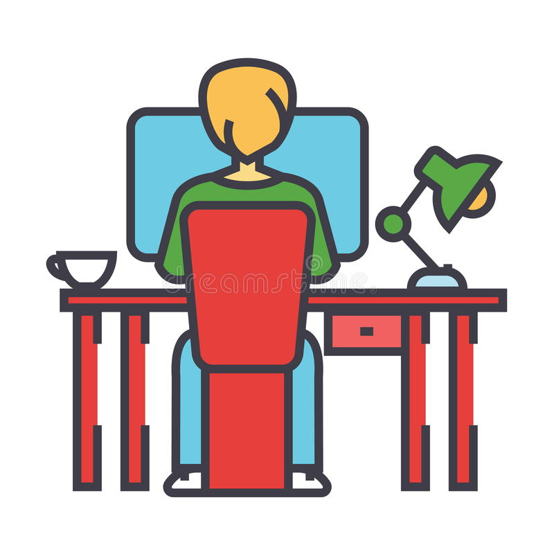 Νεαρός άνδρας που εργάζεται στη συνεδρίαση υπολογιστών πίσω από την έννοια γραφείων γραφείων απεικόνιση αποθεμάτων