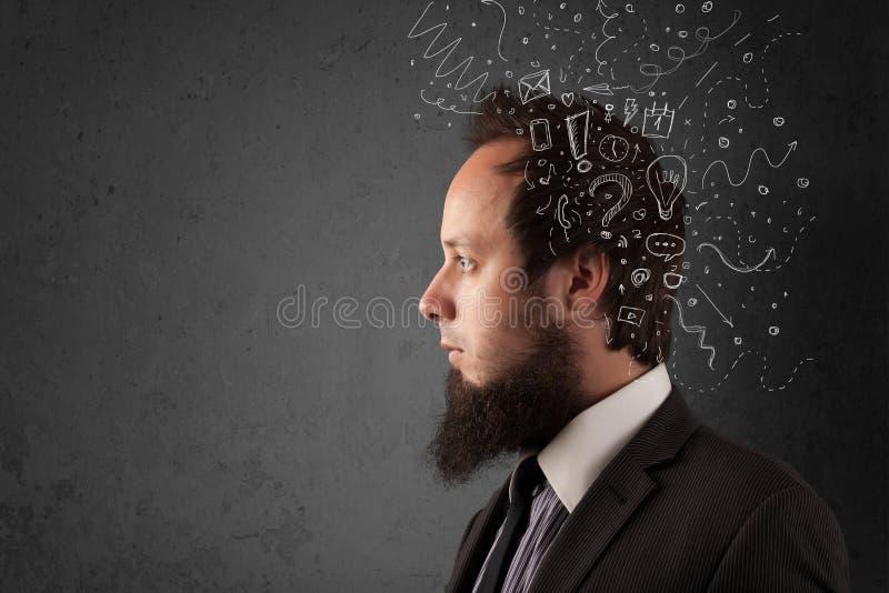 Νεαρός άνδρας που σκέφτεται με τις αφηρημένα γραμμές και τα σύμβολα στοκ εικόνες με δικαίωμα ελεύθερης χρήσης