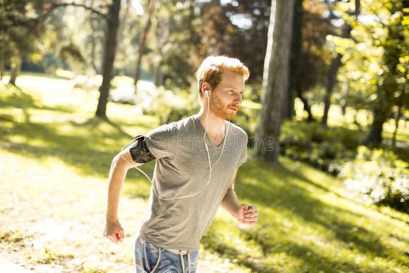 Νεαρός άνδρας που τρέχει στο πάρκο φθινοπώρου στοκ εικόνες με δικαίωμα ελεύθερης χρήσης