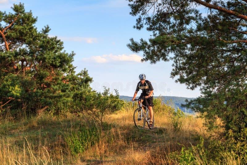Νεαρός άνδρας σε ένα ποδήλατο βουνών στη Βαυαρία. στοκ εικόνες