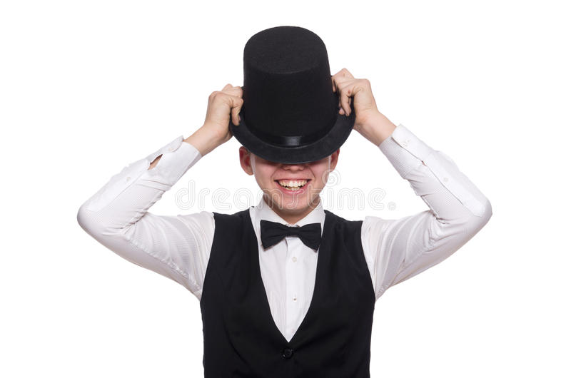 Download Νεαρός άνδρας στη μαύρη κλασική φανέλλα που απομονώνεται στο λευκό Στοκ Εικόνα - εικόνα από καπέλο, απομονωμένος: 62708315