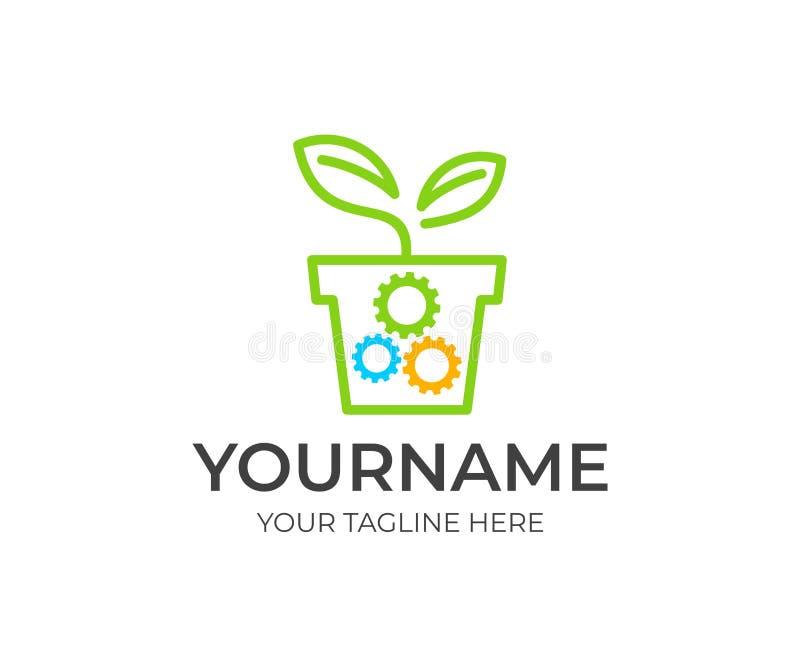 Νεαρός βλαστός στο δοχείο λουλουδιών και τα εργαλεία, πρότυπο λογότυπων Οικολογικό μηχανικό εργαλείο, βιο τεχνολογία, επιχειρησια διανυσματική απεικόνιση