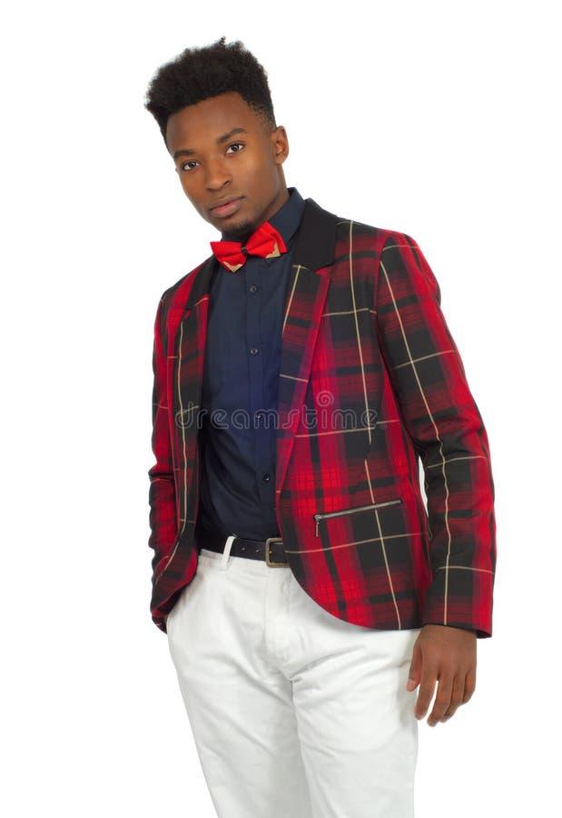 Νεαρών άνδρων καρό κοστουμιών κόκκινος τόξων δεσμών κλασικός κομψός υποβάθρου στούντιο άσπρος κοιτάζει στοκ φωτογραφία με δικαίωμα ελεύθερης χρήσης