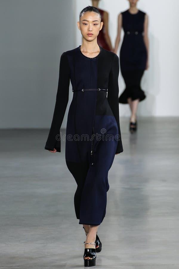 ΝΕΑ ΥΌΡΚΗ, ΝΈΑ ΥΌΡΚΗ - 11 ΣΕΠΤΕΜΒΡΊΟΥ: Το πρότυπο έτσι το RA Choi περπατά το διάδρομο στη επίδειξη μόδας συλλογής του Calvin Klei στοκ εικόνες