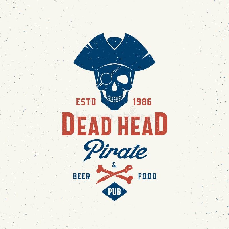 Νεκρά επικεφαλής μπύρα πειρατών και μπαρ τροφίμων Αφηρημένο διανυσματικό πρότυπο σημαδιών, συμβόλων ή λογότυπων με την αριστοκρατ ελεύθερη απεικόνιση δικαιώματος