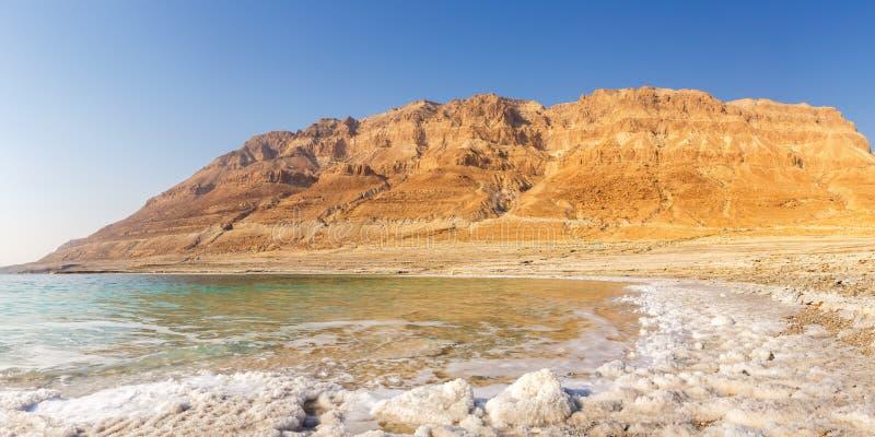 Νεκρή θάλασσας πανοράματος του Ισραήλ copyspace φύση τοπίων αντιγράφων διαστημική στοκ εικόνες