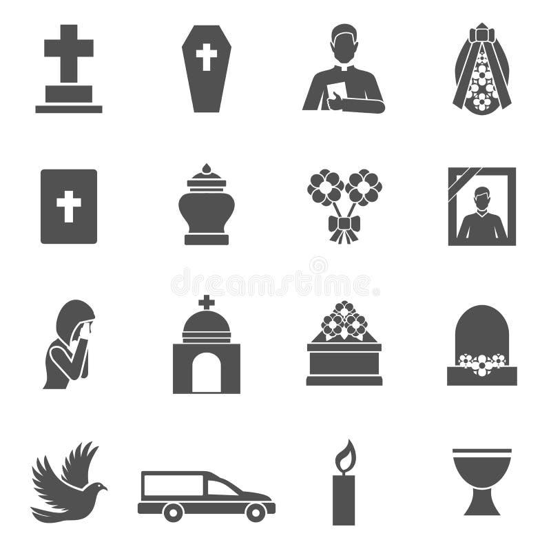 Νεκρικά εικονίδια καθορισμένα διανυσματική απεικόνιση