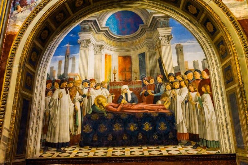 Νεκρική εκκλησία SAN Gimignano Τοσκάνη νωπογραφίας Αγίου Fina μεσαιωνική στοκ φωτογραφία