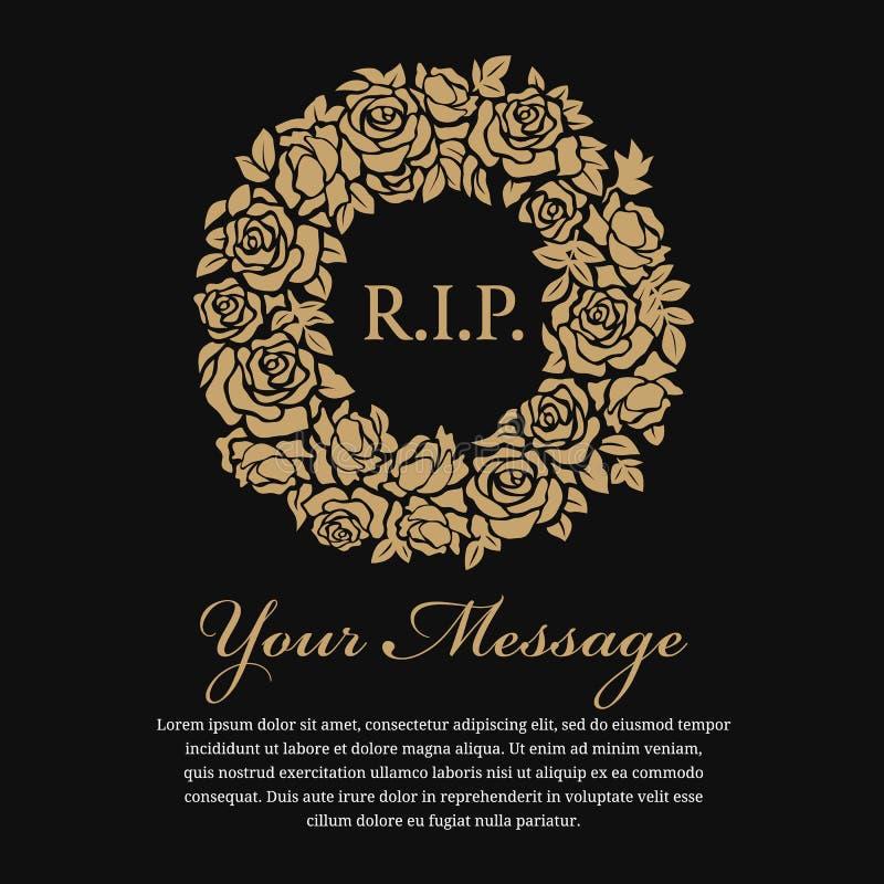 Νεκρική κάρτα - Ρ Ι Π το κείμενο στο χρυσό στεφάνι κύκλων αυξήθηκε διανυσματικό σχέδιο διανυσματική απεικόνιση