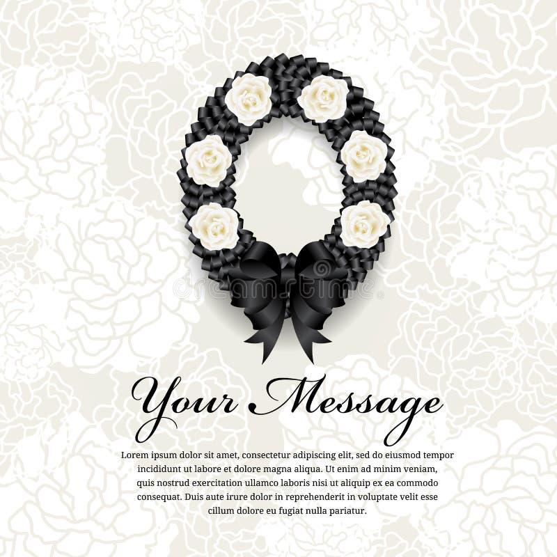 Νεκρική κάρτα - το μαύρο τόξο στεφανιών κορδελλών κύκλων και άσπρος αυξήθηκε στο μαλακό αφηρημένο υπόβαθρο λουλουδιών διανυσματική απεικόνιση
